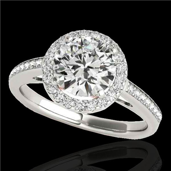 1.3 ctw Certified Diamond Solitaire Halo Ring 10k 2Tone Gold - REF-184R8K