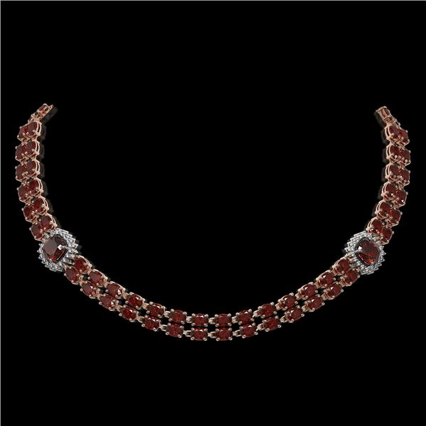 33.54 ctw Garnet & Diamond Necklace 14K Rose Gold - REF-527M3G