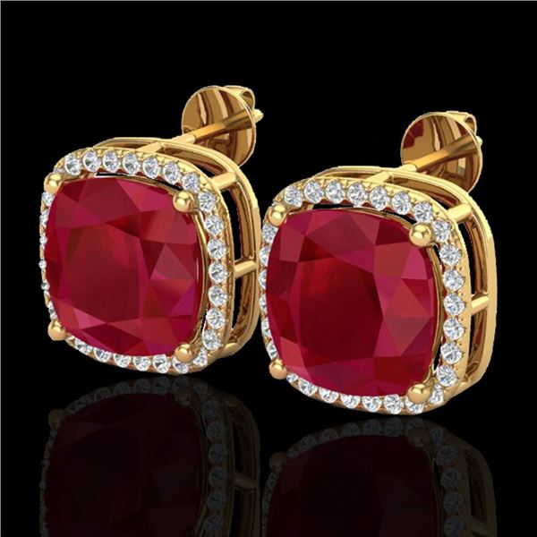 12 ctw Ruby & Micro Pave Halo VS/SI Diamond Earrings 18k Yellow Gold - REF-136A4N