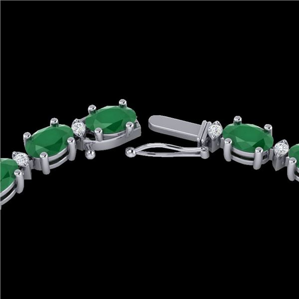 35 ctw Emerald & VS/SI Diamond Eternity Necklace 10k White Gold - REF-200M8G