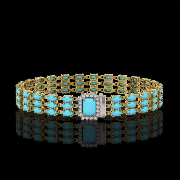 19.27 ctw Turquoise & Diamond Bracelet 14K Yellow Gold - REF-318H2R