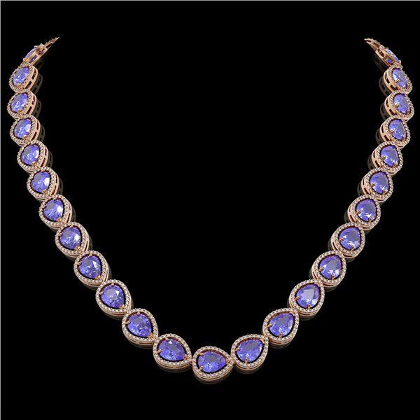 44.8 ctw Tanzanite & Diamond Micro Pave Halo Necklace 10k Rose Gold - REF-1134N9F