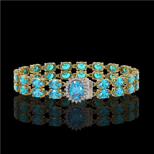 17.78 ctw Swiss Topaz & Diamond Bracelet 14K Yellow Gold - REF-209X3A