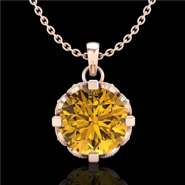 1.5 ctw Intense Fancy Yellow Diamond Art Deco Necklace 18k Rose Gold - REF-218M2G