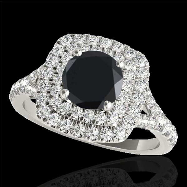 1.6 ctw Certified VS Black Diamond Solitaire Halo Ring 10k White Gold - REF-64G3W