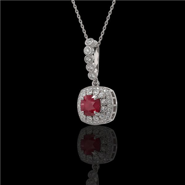 2.55 ctw Certified Ruby & Diamond Victorian Necklace 14K White Gold - REF-100K2Y