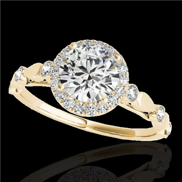 1.25 ctw Certified Diamond Solitaire Halo Ring 10k Yellow Gold - REF-177F3M