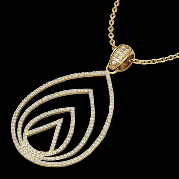 1.25 ctw Micro Pave VS/SI Diamond Designer Necklace 18k Yellow Gold - REF-119N8F