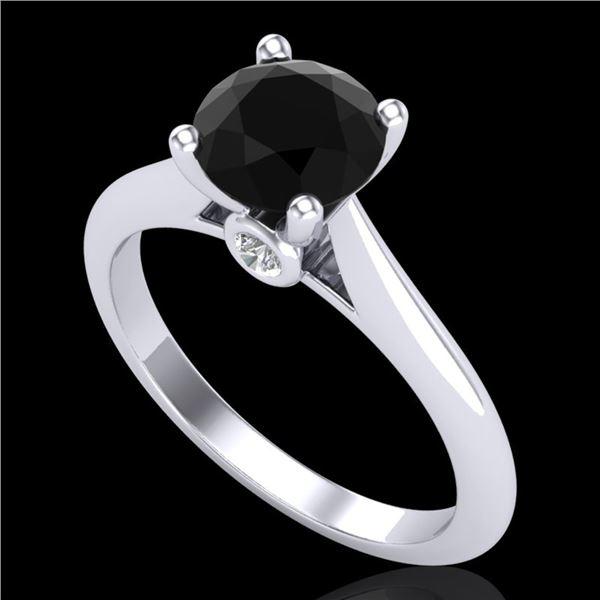 1.36 ctw Fancy Black Diamond Engagment Art Deco Ring 18k White Gold - REF-66R8K