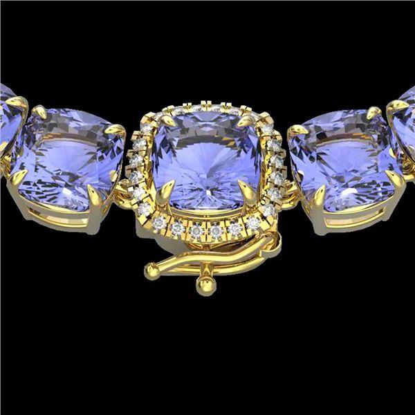 100 ctw Tanzanite & Diamond Micro Necklace 14k Yellow Gold - REF-1618K2Y