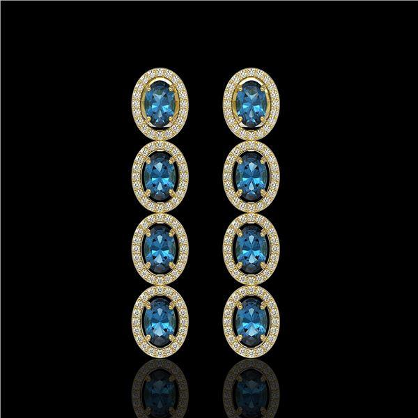 6.28 ctw London Topaz & Diamond Micro Pave Halo Earrings 10k Yellow Gold - REF-143A6N