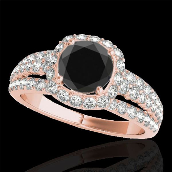 2.25 ctw Certified VS Black Diamond Solitaire Halo Ring 10k Rose Gold - REF-79A9N