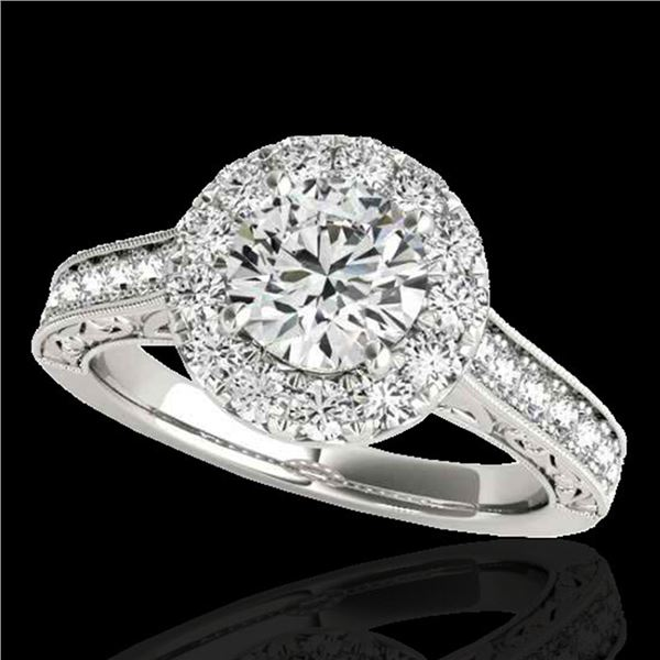 2.22 ctw Certified Diamond Solitaire Halo Ring 10k White Gold - REF-368F2M