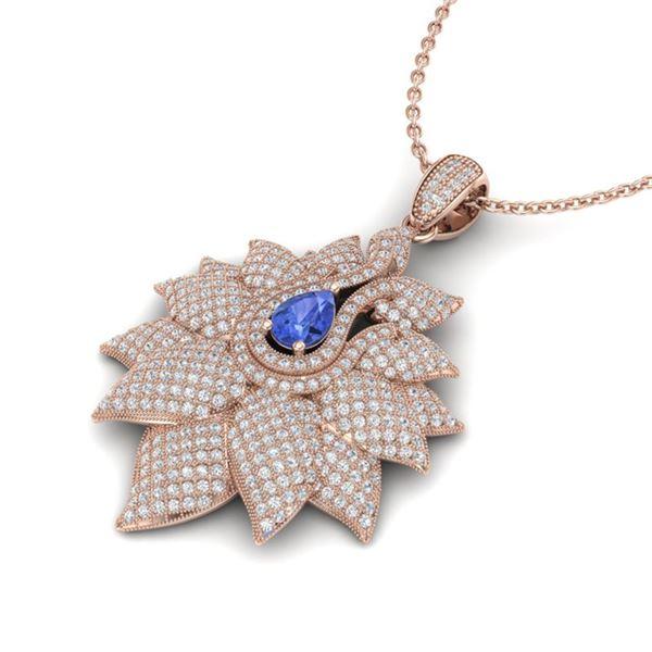 3 ctw Tanzanite & Micro Pave VS/SI Diamond Necklace 18k Rose Gold - REF-290M9G