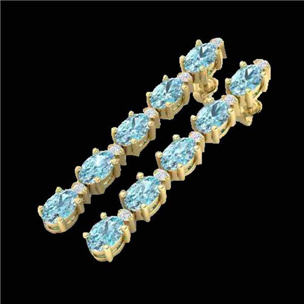 15.47 ctw Sky Blue Topaz & VS/SI Certified Diamond Earrings 10k Yellow Gold - REF-81N8F