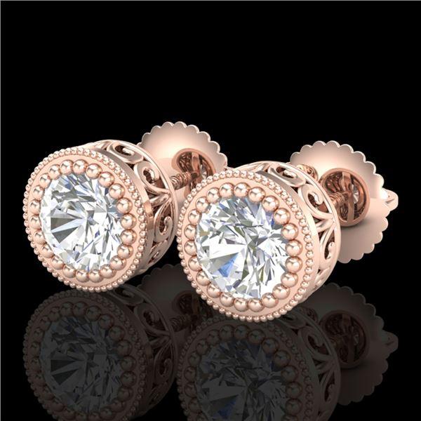 1.09 ctw VS/SI Diamond Solitaire Art Deco Stud Earrings 18k Rose Gold - REF-202N8F