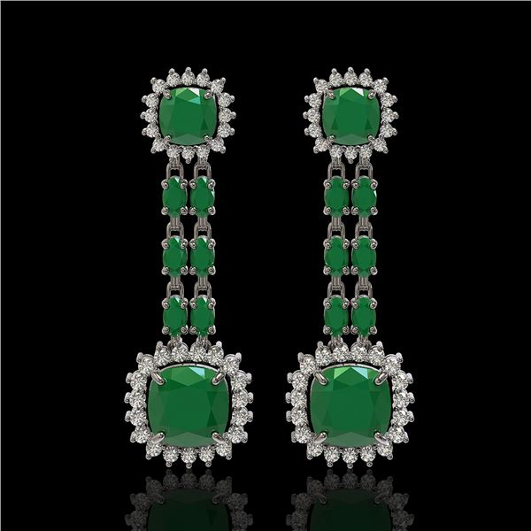 19.88 ctw Emerald & Diamond Earrings 14K White Gold - REF-336M4G
