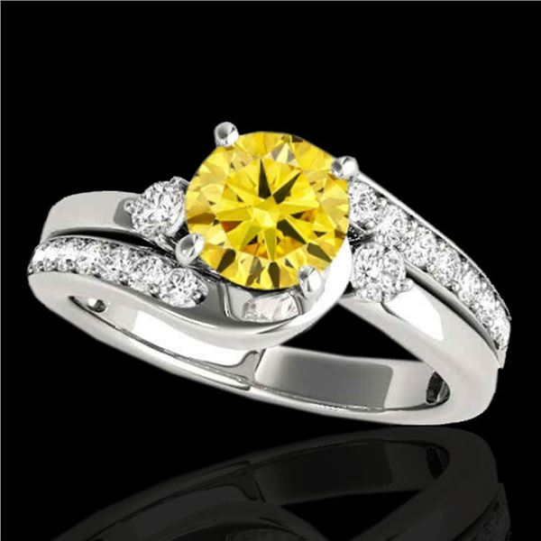 1.5 ctw Certified SI Fancy Yellow Diamond Bypass Ring 10k White Gold - REF-204R5K
