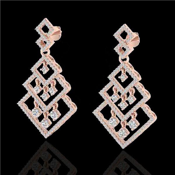 3 ctw Micro Pave VS/SI Diamond Earrings Dangling 14k Rose Gold - REF-290K9Y