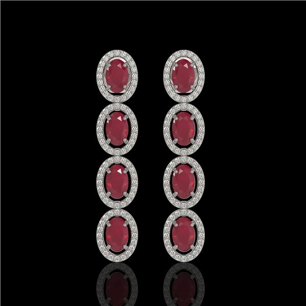 6.47 ctw Ruby & Diamond Micro Pave Halo Earrings 10k White Gold - REF-143A6N