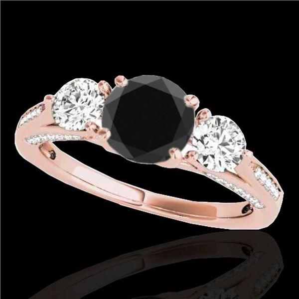 1.75 ctw Certified VS Black Diamond 3 Stone Ring 10k Rose Gold - REF-80M6G