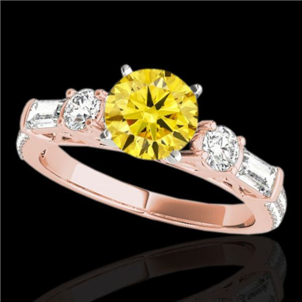2 ctw Certified SI/I Fancy Intense Yellow Diamond Pave Ring 10k Rose Gold - REF-231X8A