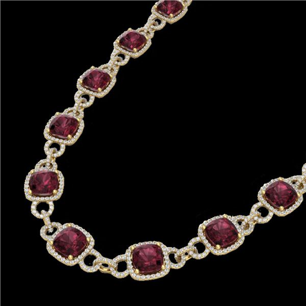 66 ctw Garnet & Micro VS/SI Diamond Eternity Necklace 14k Yellow Gold - REF-881K8Y