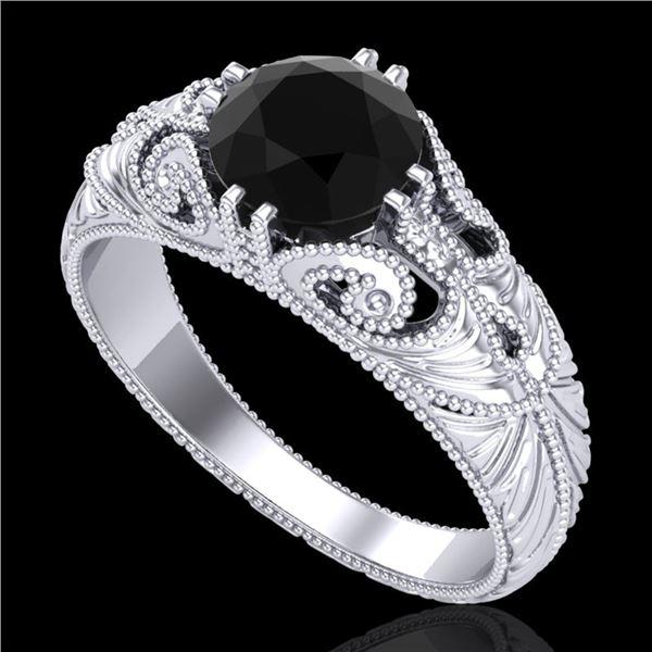 1 ctw Fancy Black Diamond Engagment Art Deco Ring 18k White Gold - REF-90R9K
