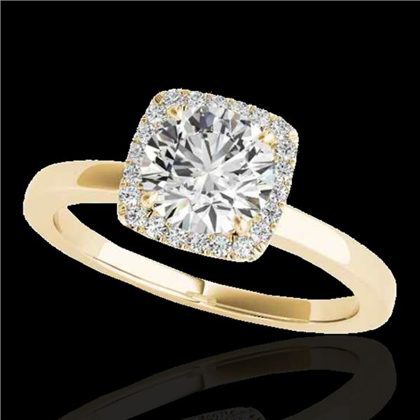 1.15 ctw Certified Diamond Solitaire Halo Ring 10k Yellow Gold - REF-190A9N