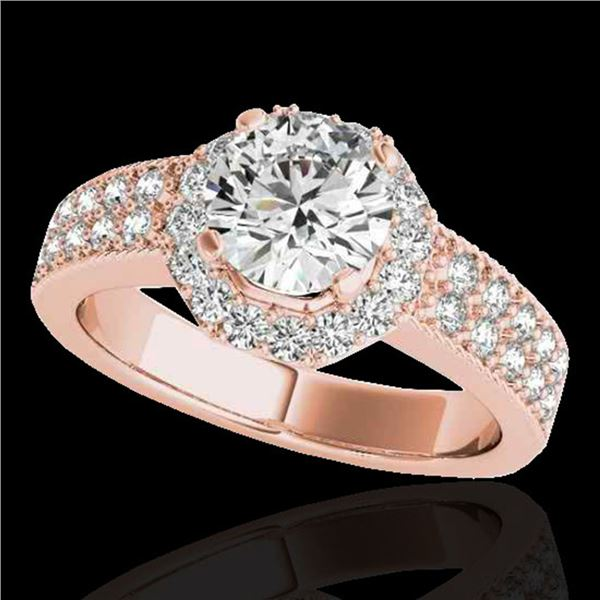 1.4 ctw Certified Diamond Solitaire Halo Ring 10k Rose Gold - REF-204W5H