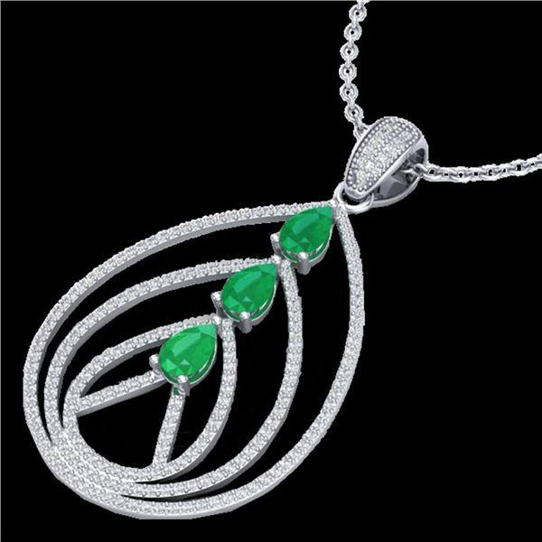 2 ctw Emerald & Micro Pave VS/SI Diamond Necklace 18k White Gold - REF-163M6G
