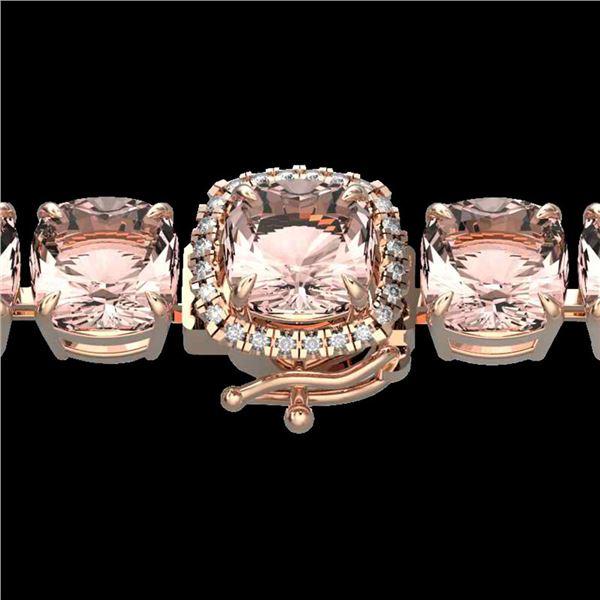 35 ctw Morganite & Micro Pave Diamond Bracelet 14k Rose Gold - REF-494K4Y