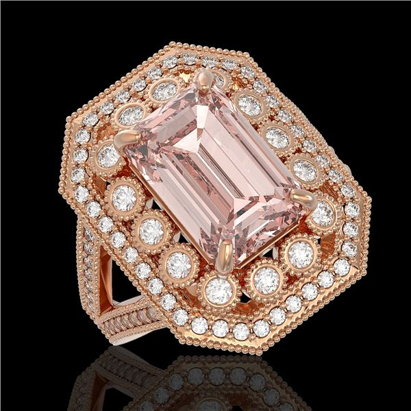 6.08 ctw Certified Morganite & Diamond Victorian Ring 14K Rose Gold - REF-226H4R