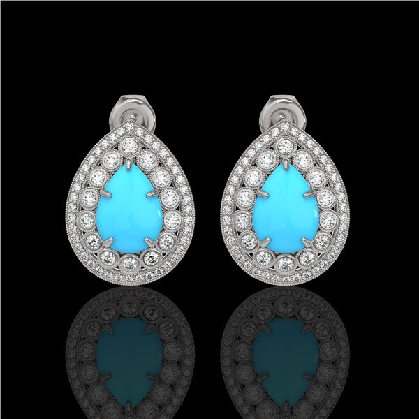 7.54 ctw Turquoise & Diamond Victorian Earrings 14K White Gold - REF-218X2A