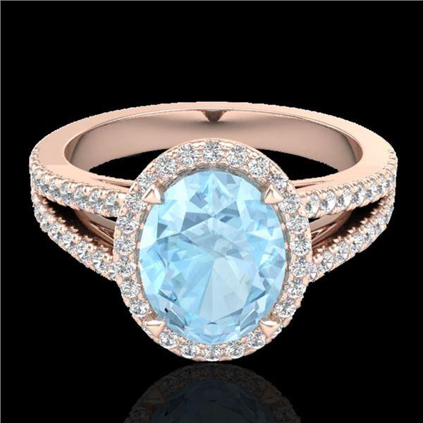 3 ctw Aquamarine & Micro VS/SI Diamond Halo Ring 14k Rose Gold - REF-77Y8X