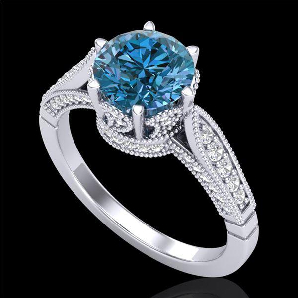 2.2 ctw Intense Blue Diamond Engagment Art Deco Ring 18k White Gold - REF-314W5H