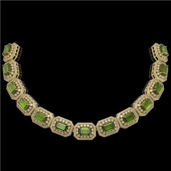 130.05 ctw Tourmaline & Diamond Victorian Necklace 14K Yellow Gold - REF-3619A6N
