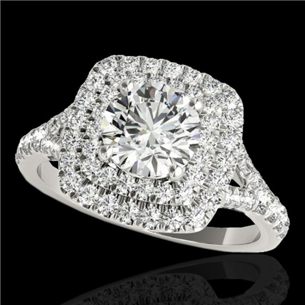 1.6 ctw Certified Diamond Solitaire Halo Ring 10k White Gold - REF-204H5R