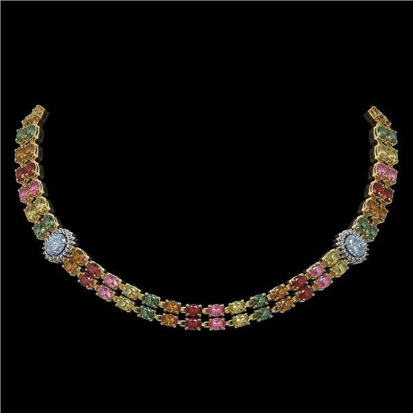 43.68 ctw Sapphire & Diamond Necklace 14K Yellow Gold - REF-527F3M