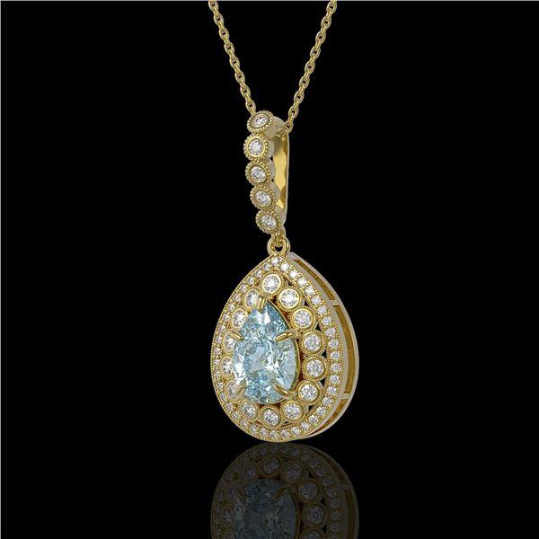 3.77 ctw Aquamarine & Diamond Victorian Necklace 14K Yellow Gold - REF-160W2H