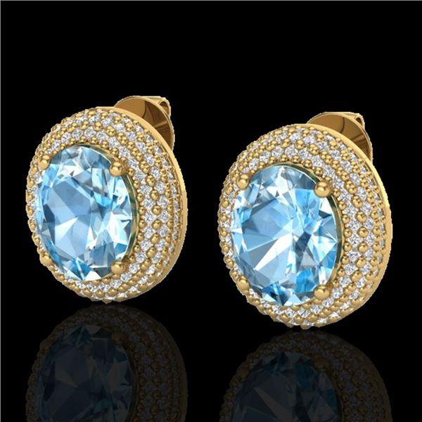 10 ctw Sky Blue Topaz & Micro Pave Diamond Earrings 18k Yellow Gold - REF-161Y8X