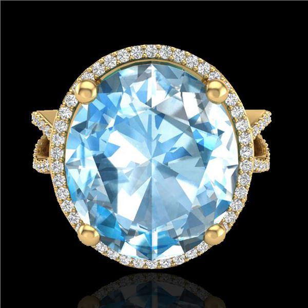 12 ctw Sky Blue Topaz & Micro Pave VS/SI Diamond Ring 18k Yellow Gold - REF-84R2K