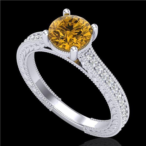 1.45 ctw Intense Fancy Yellow Diamond Art Deco Ring 18k White Gold - REF-290K9Y