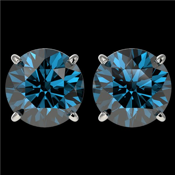 4 ctw Certified Intense Blue Diamond Stud Earrings 10k White Gold - REF-556Y3X