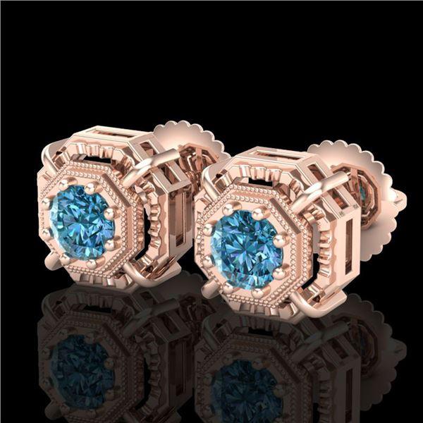 1.11 ctw Fancy Intense Blue Diamond Art Deco Earrings 18k Rose Gold - REF-158H2R