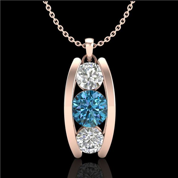 1.07 ctw Fancy Intense Blue Diamond Art Deco Necklace 18k Rose Gold - REF-123R6K