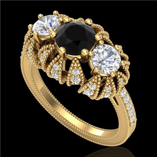 2.26 ctw Fancy Black Diamond Art Deco 3 Stone Ring 18k Yellow Gold - REF-218K2Y