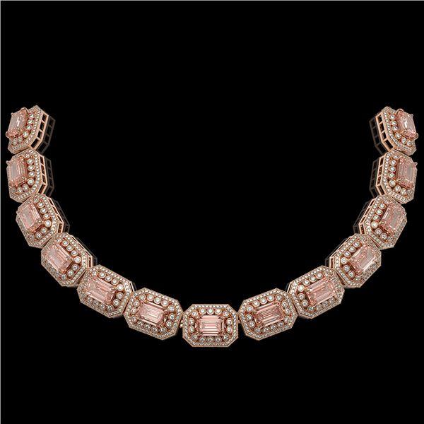 52.65 ctw Morganite & Diamond Victorian Bracelet 14K Rose Gold - REF-1818X4A