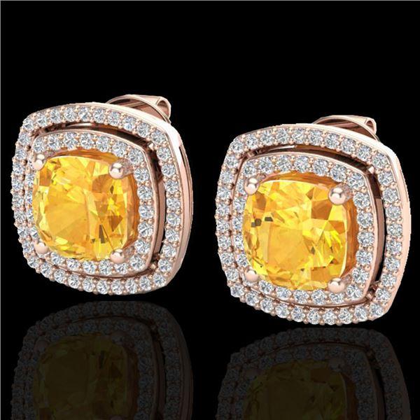 3.55 ctw Citrine & Micro Pave VS/SI Diamond Earrings 14k Rose Gold - REF-84G8W