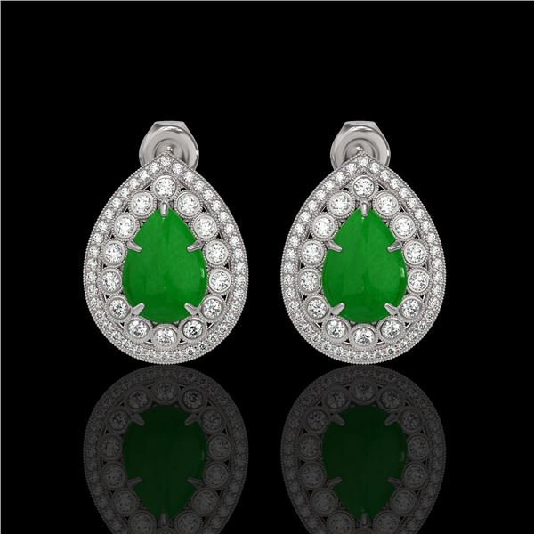 7.74 ctw Jade & Diamond Victorian Earrings 14K White Gold - REF-218A2N